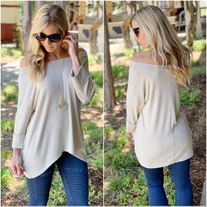 Taupe ribbed tunic